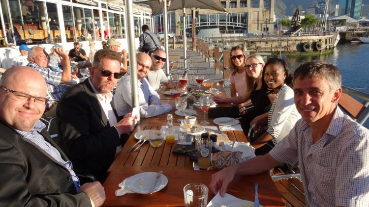 V & A Waterfront 2014-11-08: Bryn, Martin, Shaun, Dan, Mary, Sunette, Aretha and Stephen (Anno).